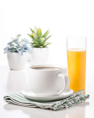 Cup of coffee and a glass of orange juice with potted plants in the background.
