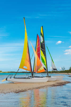 Small sailboats sitting on a sandbar in the caribbean.
