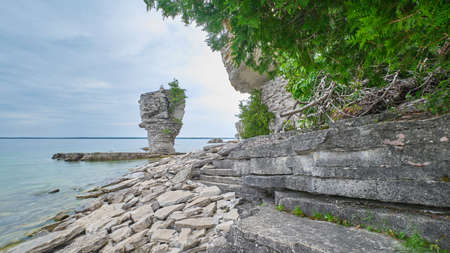 View of one of the geologic formations on Flowerpot Island near Tobermory Ontario. Stock Photo