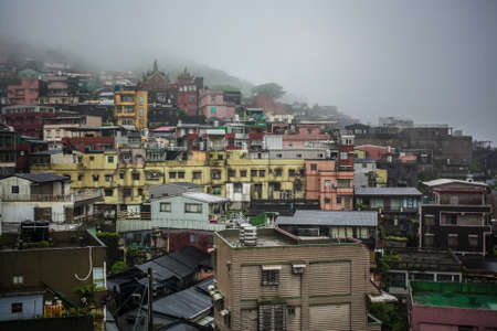 congested: Mountain village Jiufen Taiwan Stock Photo