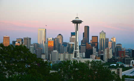 space needle: Sunset reflecting off the buildings of the Seattle skyline and Space Needle