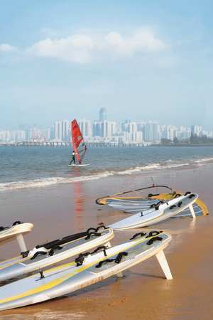Water sport of the triangular sail on the west coast of Haikou
