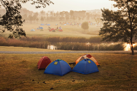 Nanjing Sports Park Camping Tent in the morning Stock Photo