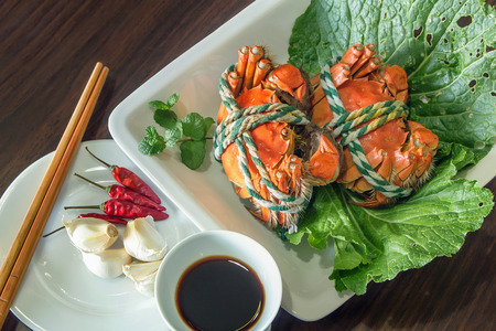 Top view of Crab dishes Imagens