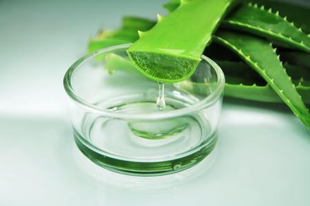 Aloe vera et gel d'Aloe Vera sur fond blanc