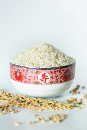 Close up view of a rice bowl filled with rice Imagens