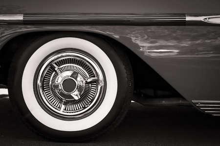 car with white wall tires the white wall tires of a classic american car from