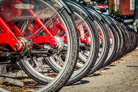 A row of bikes ready to use at a rental stand in northern Virginia. Stock Photo
