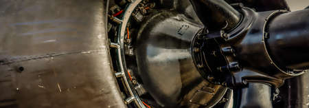 The side view of the propellor of a World War Two era bomber.