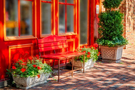A colorful bench and flowers on the cobblestone sidewalks in Northern Virginia.