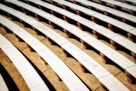 An outdoor auditorium in Virginia with rows of marble seating. Stock Photo