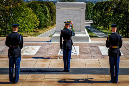 Rendering a salute at the Tomb of the Unknown Soldier during the changing of the guard. Editorial