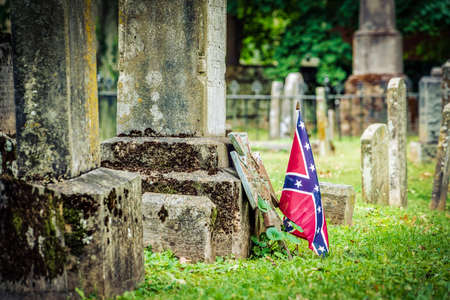 A confederate flag on a Civil War veterans grave in Virginia.