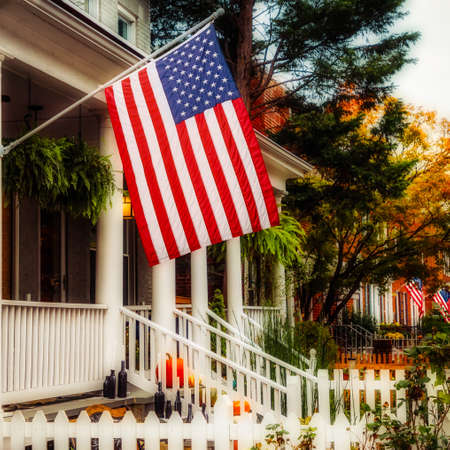 A flag flying in a historic northern Virginia neighborhood.