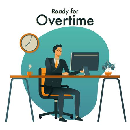Handsome man is working at his desktop computer. Modern office interior. Business concept for Overtime.