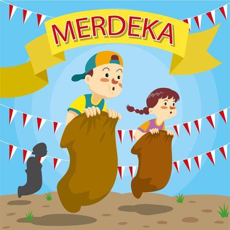 Indonesian republics independence day celebrations Illustration