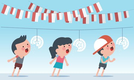 Indonesia traditional special games during independence day. Crack feeding competition. Flat Illustration style. Illustration