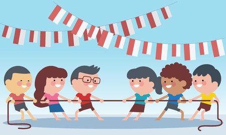 Indonesia giochi speciali tradizionali durante il giorno dell'indipendenza, bambini tiro alla fune. Stile illustrazione piatta. Vettoriali