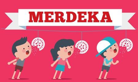 Stock of Illustration on Hari Merdeka ,Independence Day of Indonesia. Flat Illustration style.