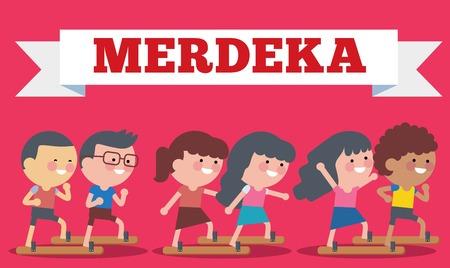 Stock Illustration on Hari Merdeka ,Independence Day of Indonesia. Flat Illustration style. Vettoriali