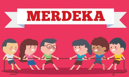 Indonesia traditional special games during Hari Merdeka, Independence Day of Indonesia, children tug of war. Flat Illustration style.