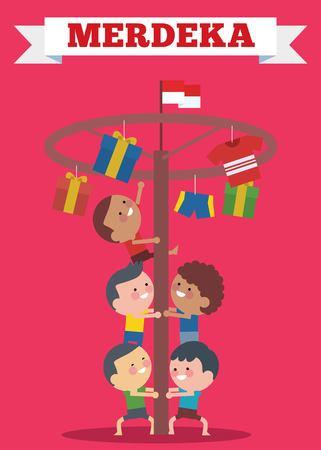 I giochi speciali tradizionali dell'Indonesia durante l'Hari Merdeka, il Giorno dell'Indipendenza dell'Indonesia, i bambini hanno scalato la noce di areca. Stile illustrazione piatta. Vettoriali