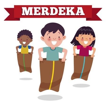 Gioco speciale tradizionale indonesiano nel Giorno dell'Indipendenza, i bambini corrono nei sacchi. Il Merdeka Day è il Giorno dell'Indipendenza Indonesiana.