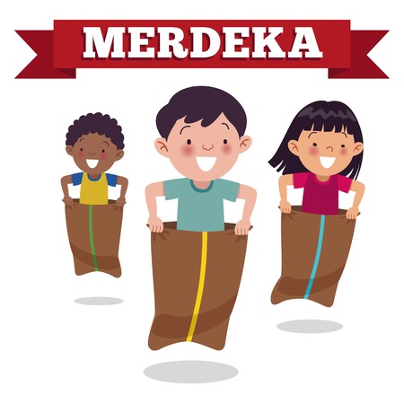Traditional Indonesian special game on Independence Day, children race in sacks. Merdeka Day is Indonesian Independence Day. Ilustração