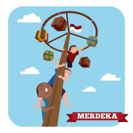 Indonesia traditional special games during Merdeka Day Indonesian Independence Day. Children climbed the areca nut.