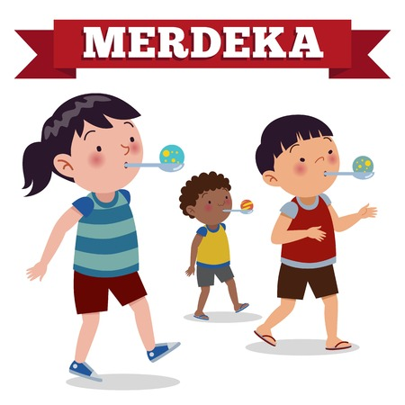 Indonesia traditional special games during independence day. Race bring marbles in spoon. Flat Illustration style.