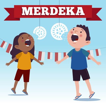 Indonesia traditional special games during Merdeka Day Indonesian Independence Day. Crack feeding competition.  イラスト・ベクター素材