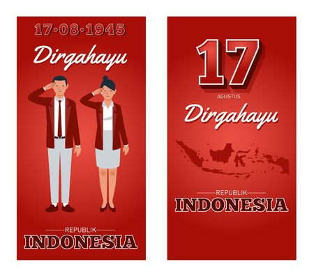 Dirgahayu is Long live the republic of Indonesia 17th August . Indonesian republics Independence day. Illustration