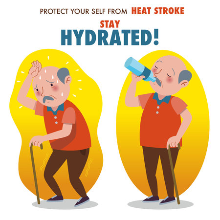 Protect yourself from heat stroke, Stay hydrated. Illustration of an elderly man overheating and drinking water from a bottle.
