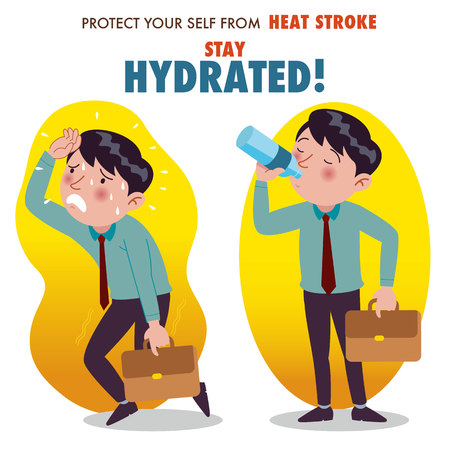 Protect yourself from heat stroke, Stay hydrated. Illustration of a businessman overheating and drinking water from a bottle.