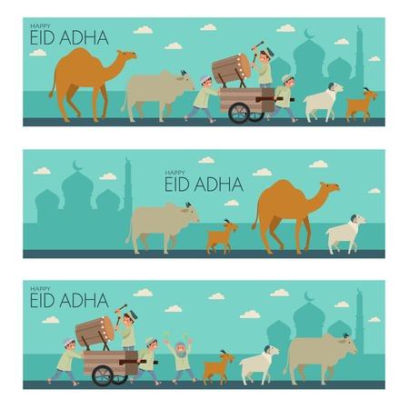 Gelukkig Eid Adha. Viering van de islamitische feestdag het offeren van een kameel, schaap, koe en geit.