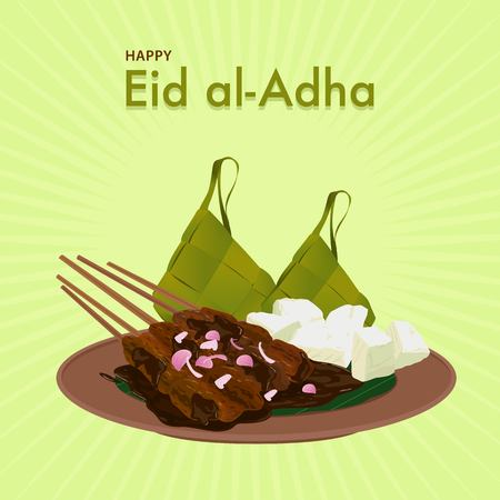 Happy Eid al-Adha. Iftar moslem food. Illustration