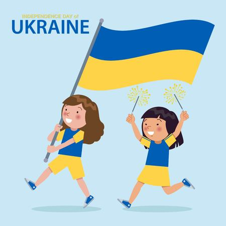 Illustration of Ukraine children celebrating Independence day. Holding an Ukraine flag and carrying fireworks.