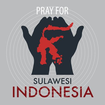 Pray for Palu Sulawesi Indonesia. A messages of support to Indonesian earthquake and tsunami victims. Фото со стока - 109130874