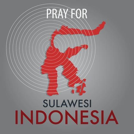 Bid voor Palu Sulawesi Indonesia. Een steunbetuiging aan Indonesische slachtoffers van aardbevingen en tsunami's.