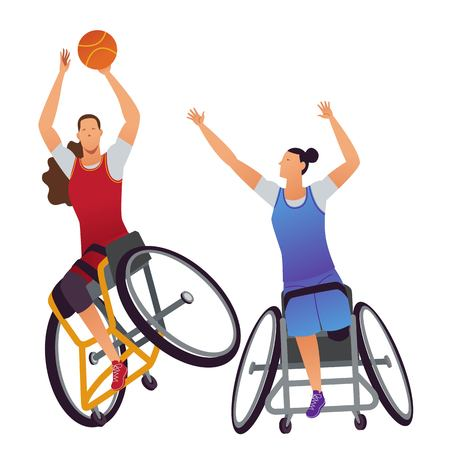 Athletes with physical disabilities. Woman Wheelchair Basketball. Vettoriali