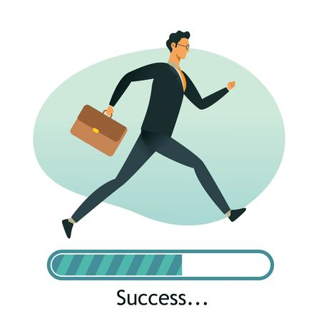Happy businessman run on progress loading bar, Success concept. Great for presentation.
