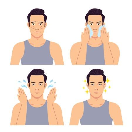 Illustrazione della fase di un bell'uomo che si lava il viso.