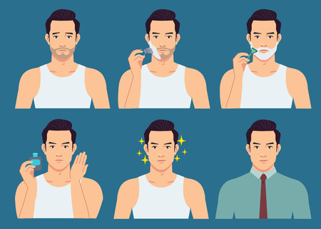The stage illustration of the handsome man shaves his beard. Ilustração