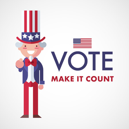 Vote USA, Make it count. Uncle Sam voting concept.