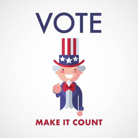 Vote USA, Make it count. Uncle Sam voting concept