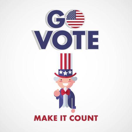 Go Vote USA, Make it count. Uncle Sam voting concept