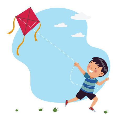 A boy runs playing kites. Stock of childrens vector illustration Ilustração