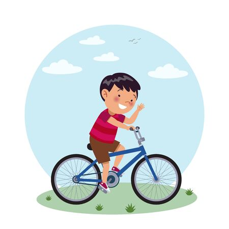A asian boy rides his blue bicycle. Stock of childrens vector illustrations.