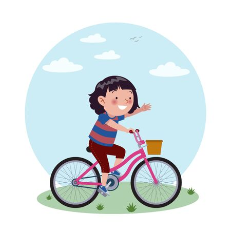 A girl rides his purple bicycle. Stock of childrens vector illustrations.