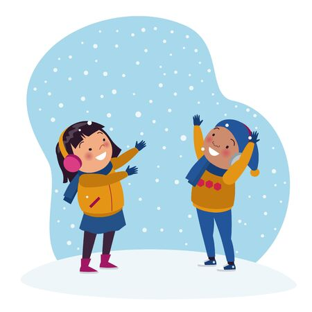 African boys and Asian girls are playing under the snow in winter. Stock of childrens vector illustrations.